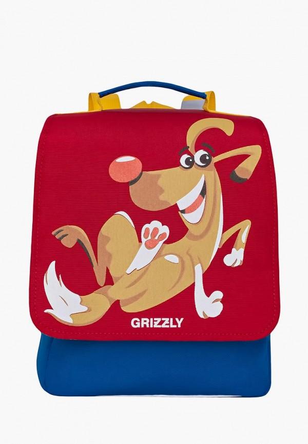 рюкзак grizzly для мальчика, красный