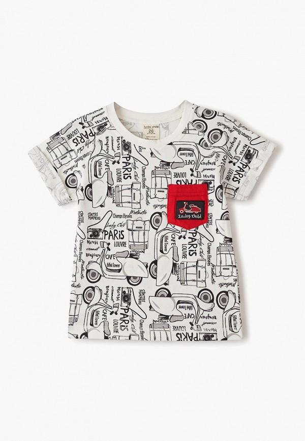 футболка lucky child для мальчика, белая