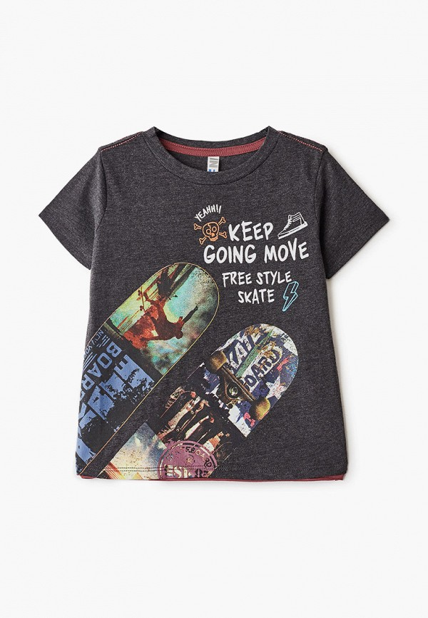 футболка infunt для мальчика, серая