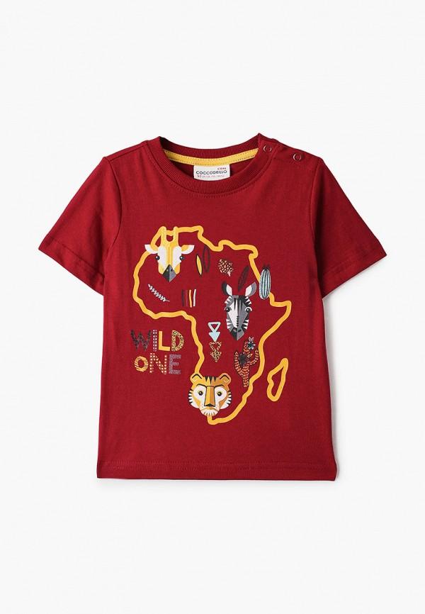 футболка с коротким рукавом coccodrillo для мальчика, бордовая