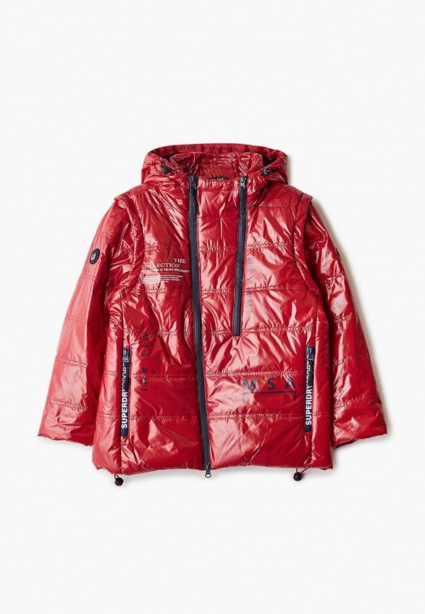 утепленные куртка mes ami для мальчика, красная