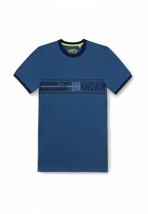 футболка с коротким рукавом sanetta для мальчика, синяя