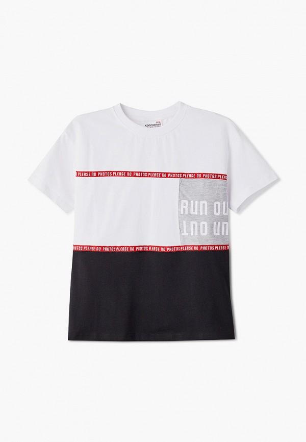 футболка с коротким рукавом coccodrillo для мальчика, белая