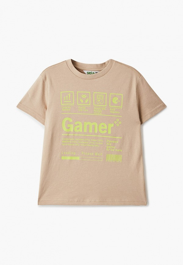 футболка с коротким рукавом sela для мальчика, бежевая