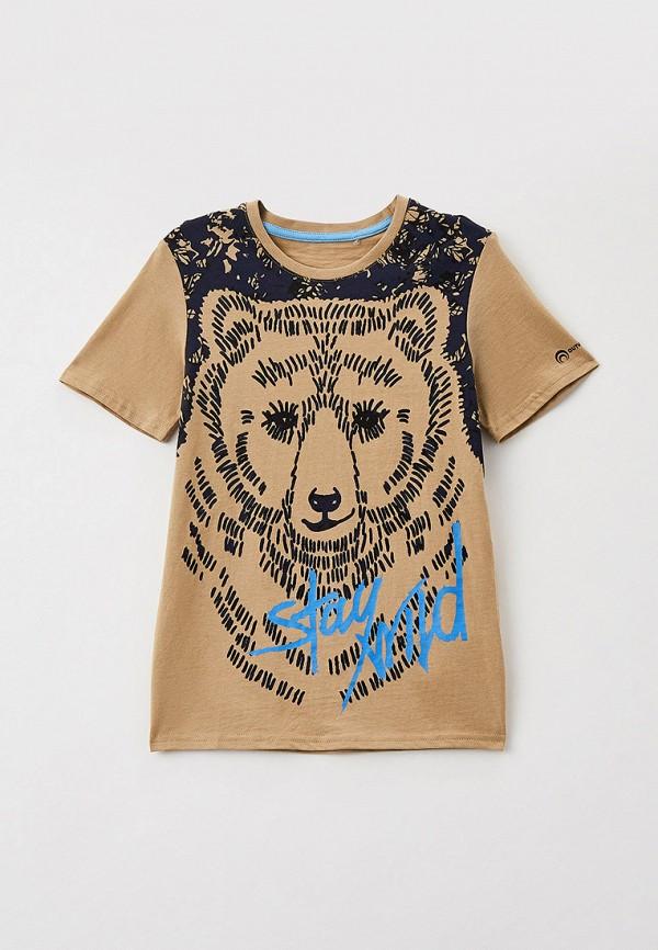 футболка с коротким рукавом outventure для мальчика, бежевая