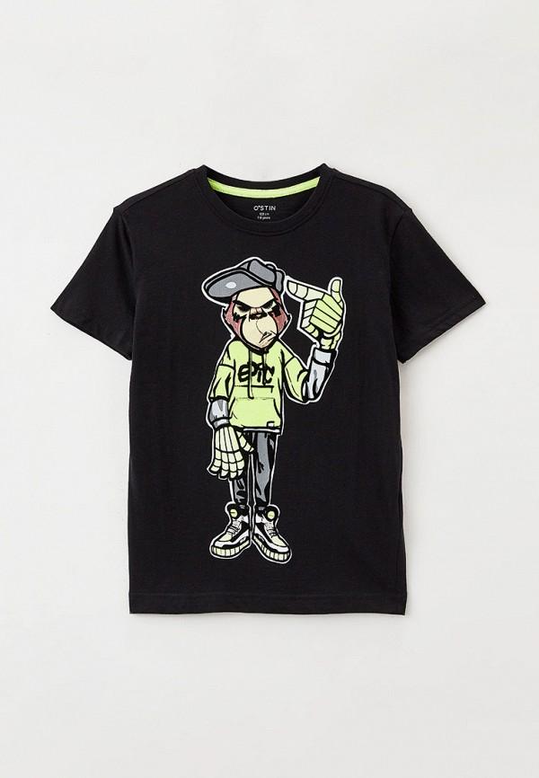 футболка с коротким рукавом o'stin для мальчика, черная