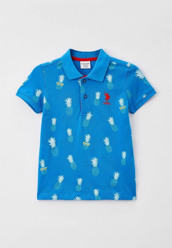 поло u.s. polo assn для мальчика, голубое