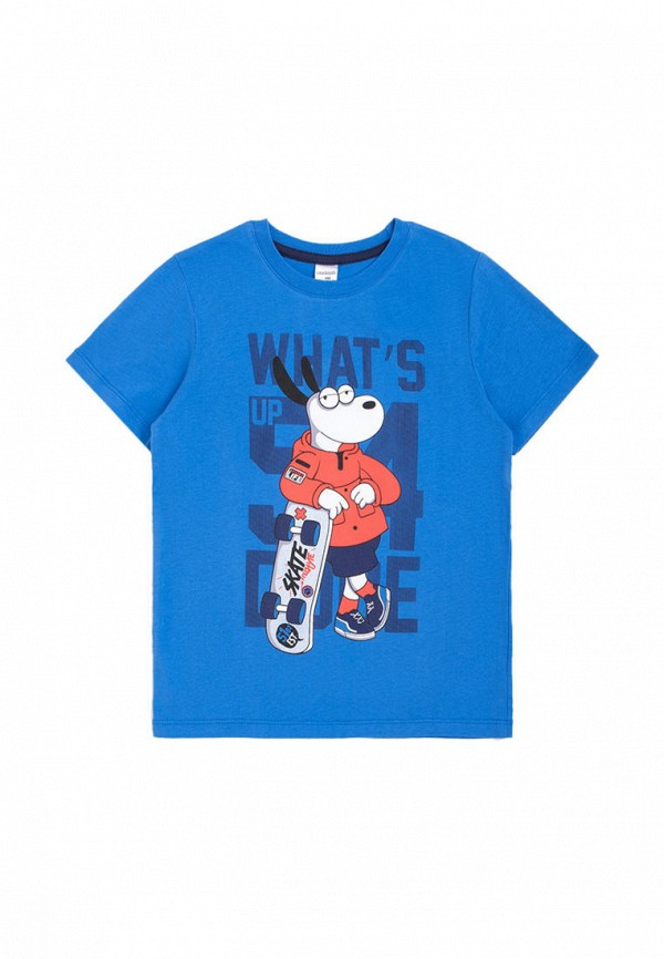футболка с коротким рукавом crockid для мальчика, голубая
