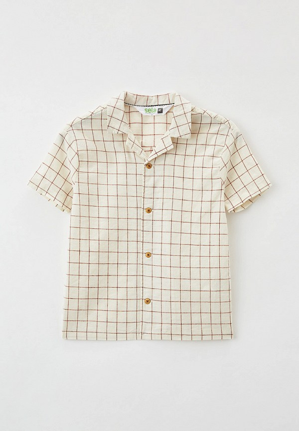 рубашка sela для мальчика, бежевая