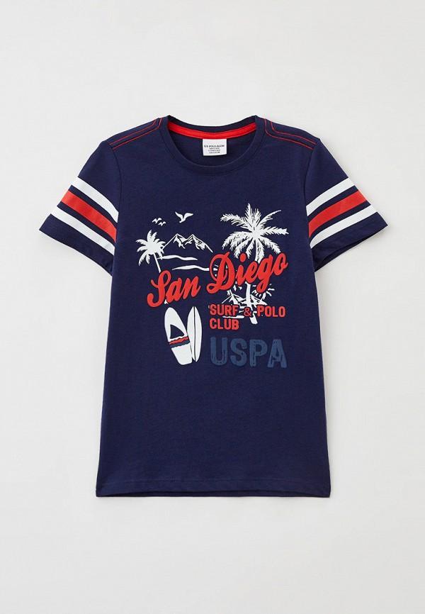 футболка с коротким рукавом u.s. polo assn для мальчика, синяя