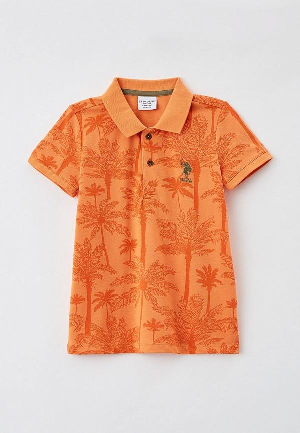 поло u.s. polo assn для мальчика, оранжевое