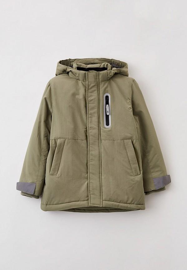 утепленные куртка sela для мальчика, зеленая