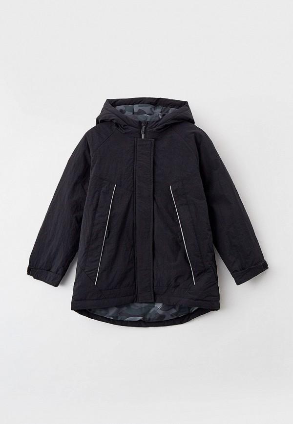 утепленные куртка sela для мальчика, черная