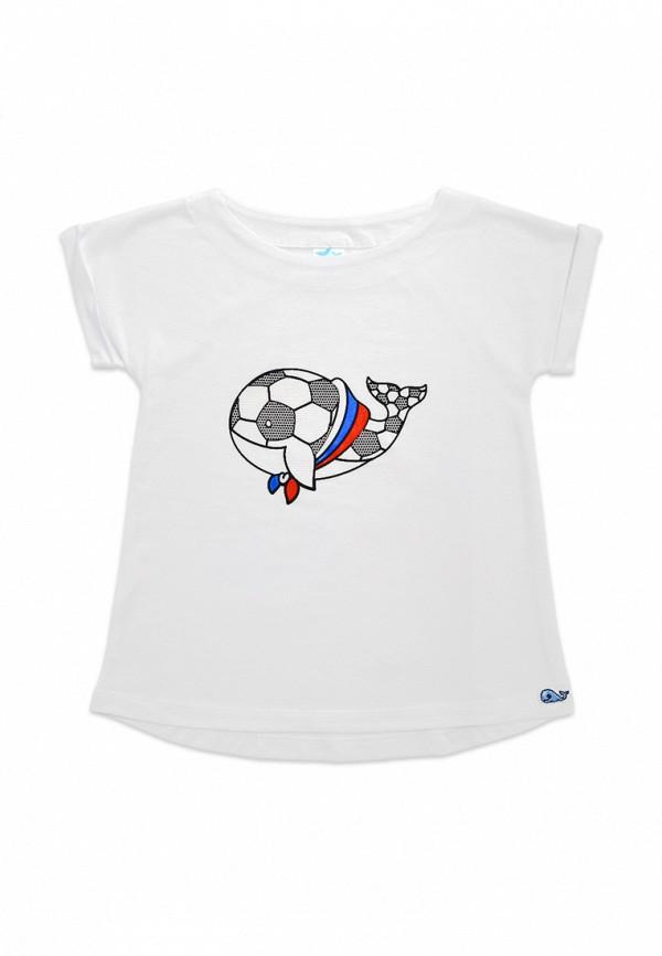 футболка с коротким рукавом кит малыши, белая