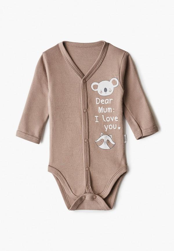 Боди для новорожденного Веселый малыш цвет коричневый