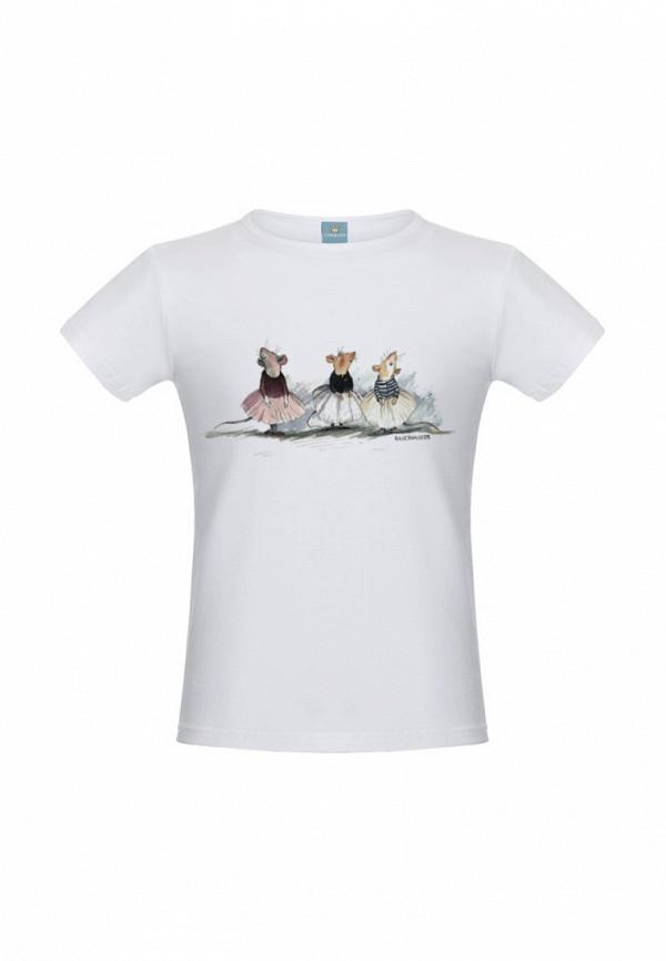 футболка с коротким рукавом lisa&leo для девочки, белая