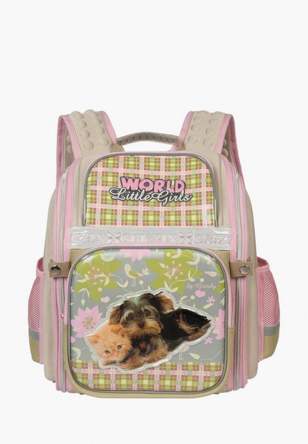 рюкзак grizzly для девочки, бежевый