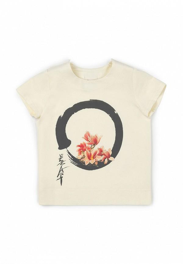 футболка с коротким рукавом ёмаё для девочки, бежевая