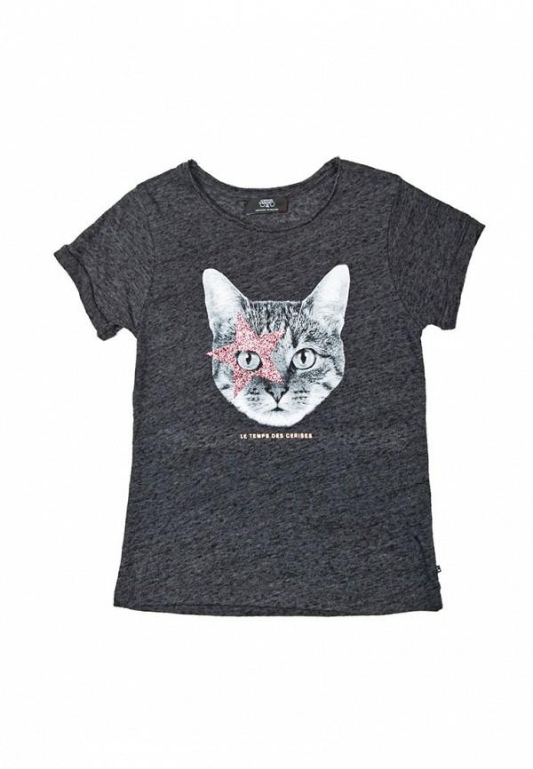 футболка с коротким рукавом le temps des cerises для девочки, серая