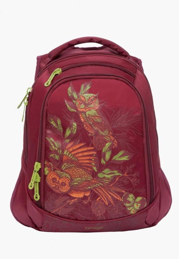 рюкзак grizzly для девочки, красный
