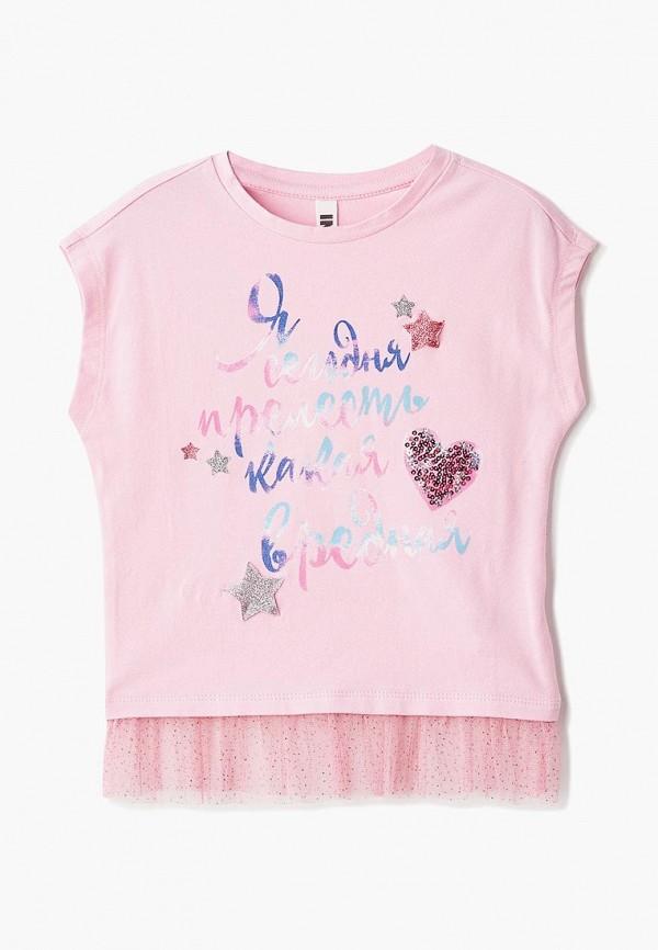 футболка с коротким рукавом infunt для девочки, розовая