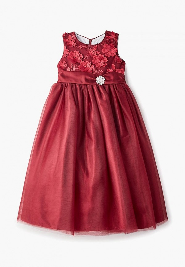 платье bonjour bebe для девочки, бордовое