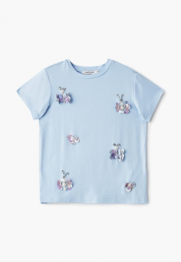 футболка с коротким рукавом zarina для девочки, голубая