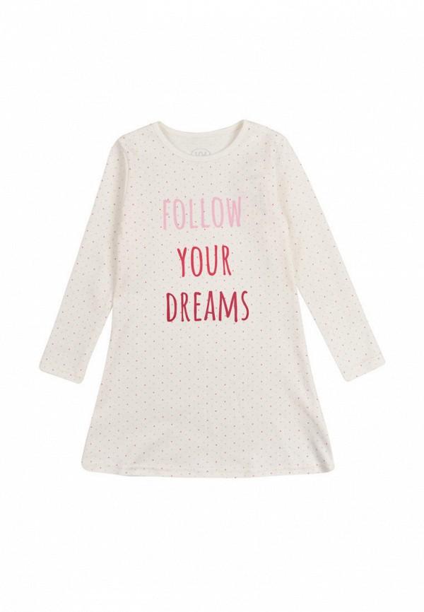 платье фламинго текстиль для девочки, белое