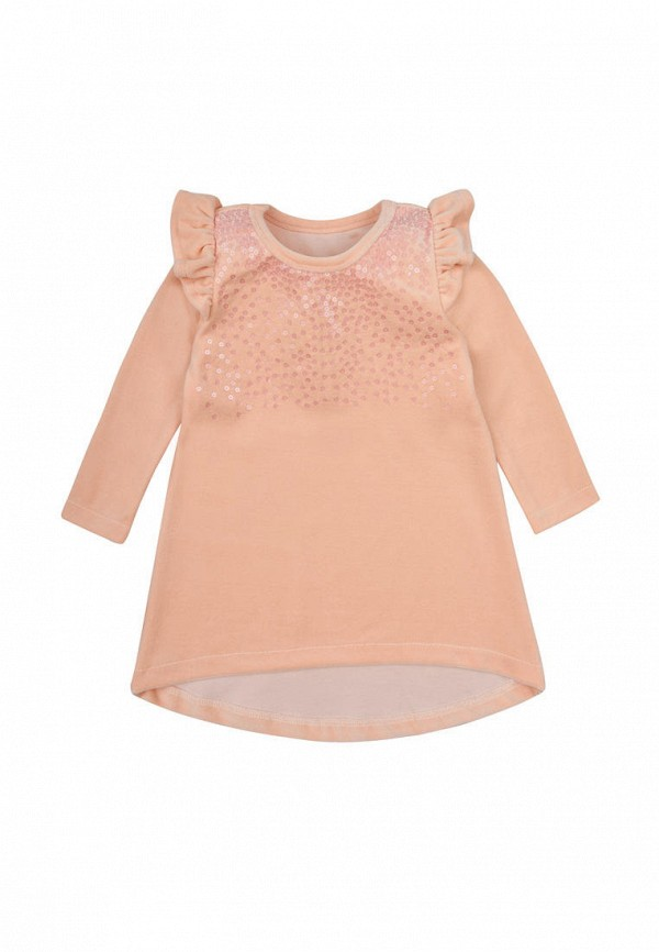 платье фламинго текстиль для девочки, бежевое