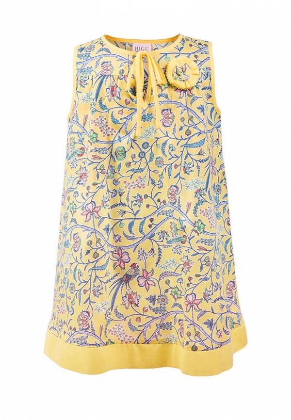 повседневные платье bigu для девочки, желтое