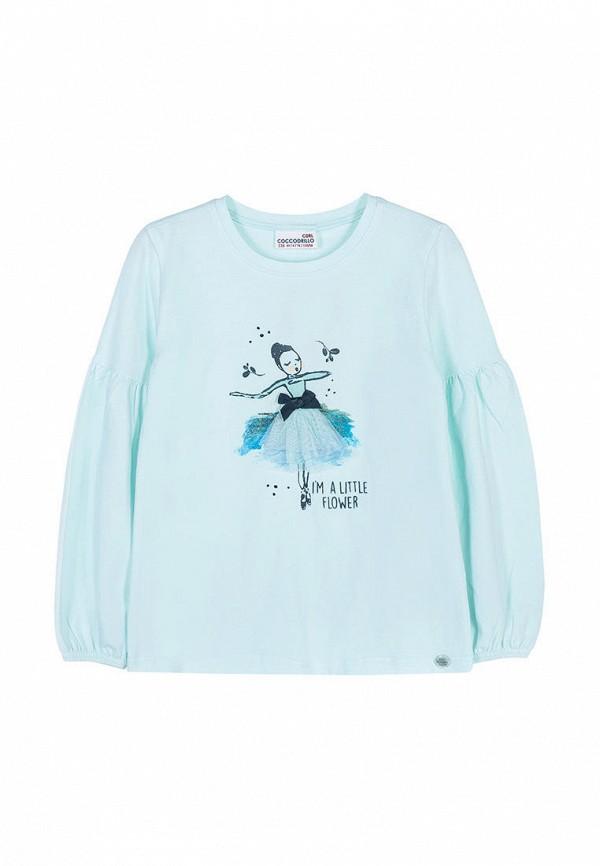 лонгслив coccodrillo для девочки, голубой