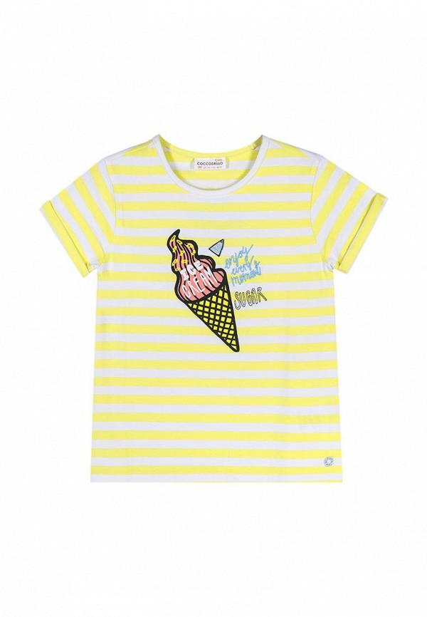футболка coccodrillo для девочки, желтая