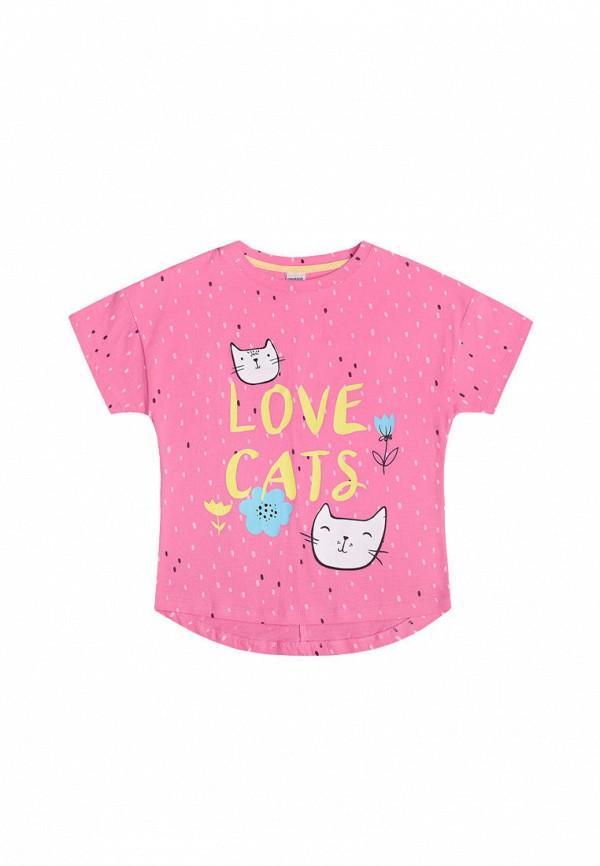 футболка с коротким рукавом crockid для девочки, розовая