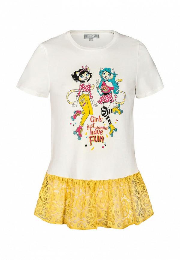 футболка смена для девочки, белая