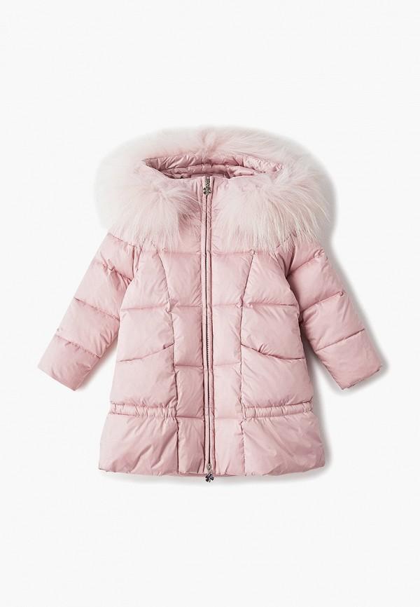 пуховик kiwiland для девочки, розовый