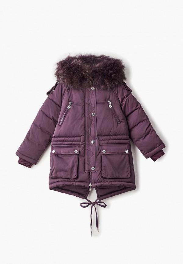 пуховик kiwiland для девочки, фиолетовый