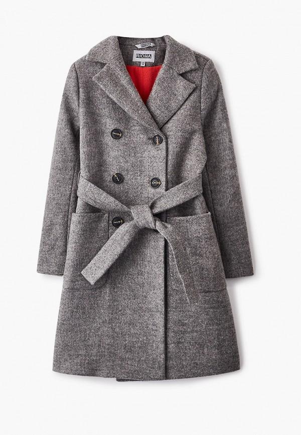 пальто rionakids для девочки, серое