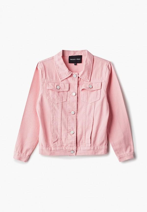 джинсовые куртка moon river для девочки, розовая
