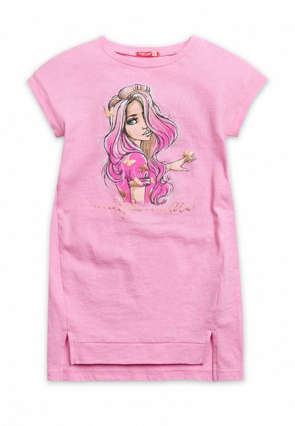 платье pelican для девочки, розовое