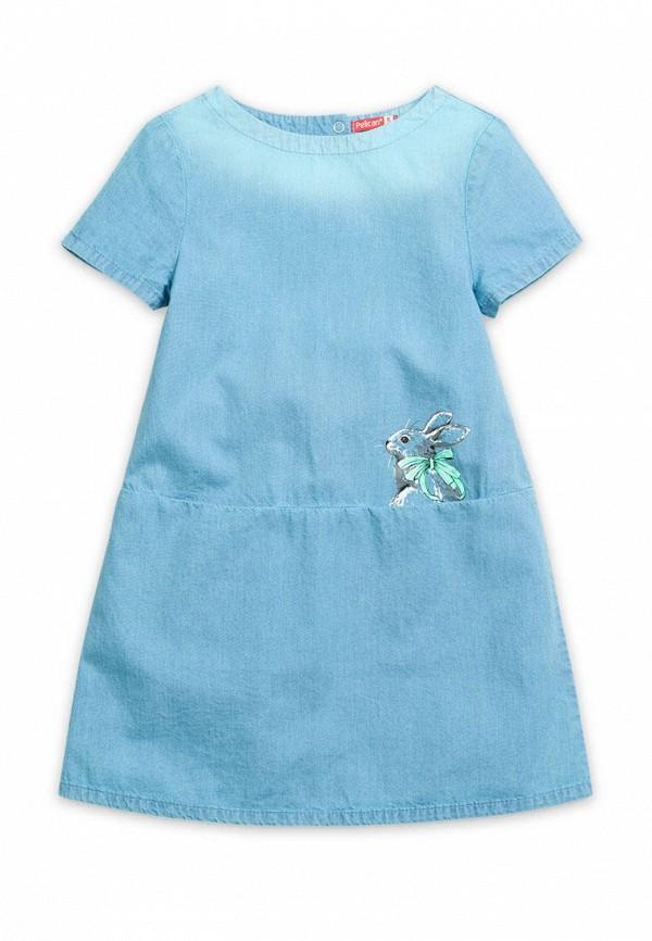 повседневные платье pelican для девочки, голубое