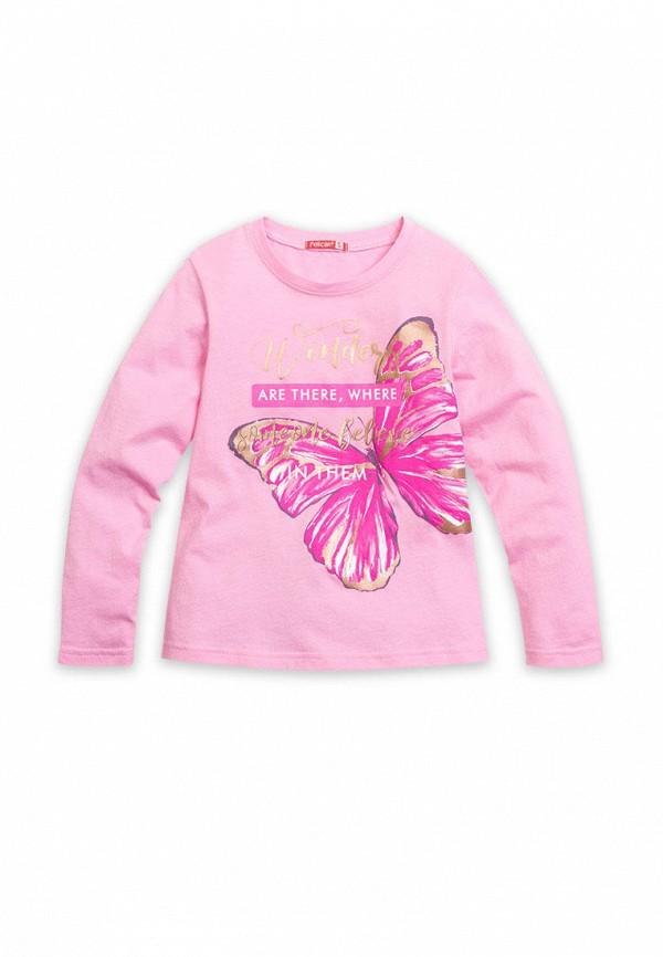 лонгслив pelican для девочки, розовый
