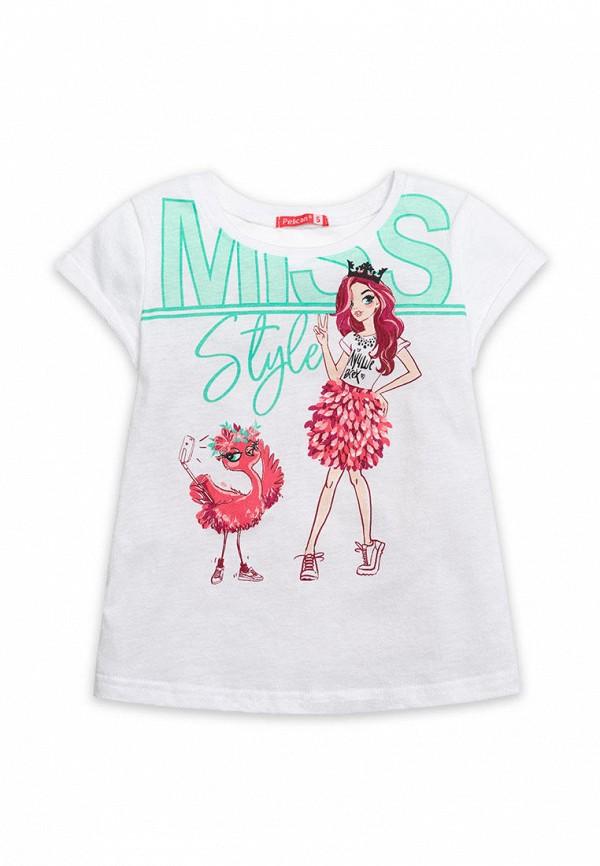 футболка с коротким рукавом pelican для девочки, белая