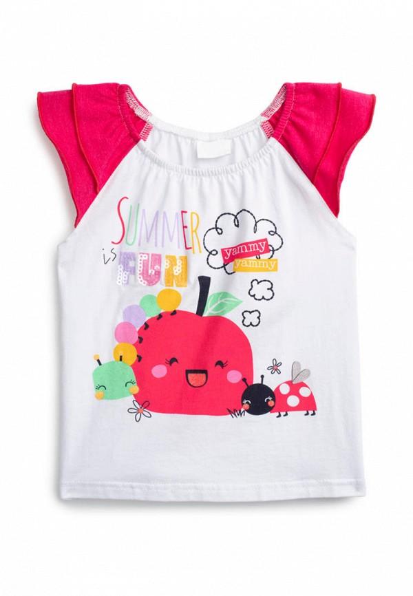 футболка с коротким рукавом playtoday для девочки, белая