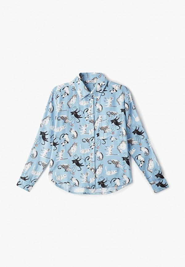 рубашка incity для девочки, голубая