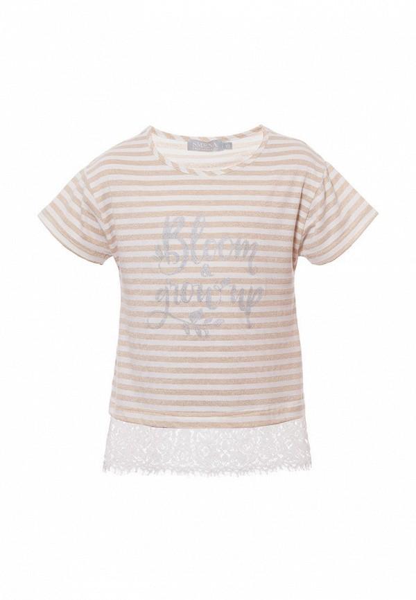 футболка с коротким рукавом смена для девочки, бежевая