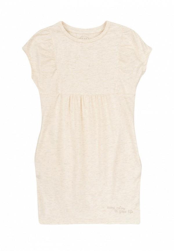 повседневные платье фламинго текстиль для девочки, бежевое