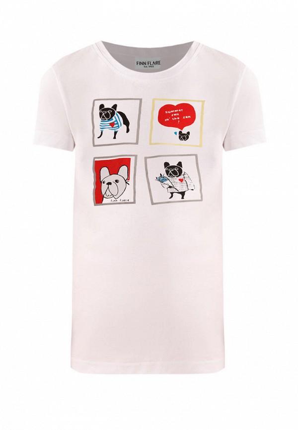 футболка с коротким рукавом finn flare для девочки, белая
