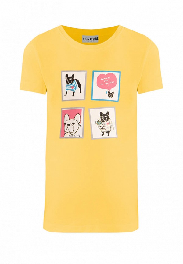 футболка с коротким рукавом finn flare для девочки, желтая