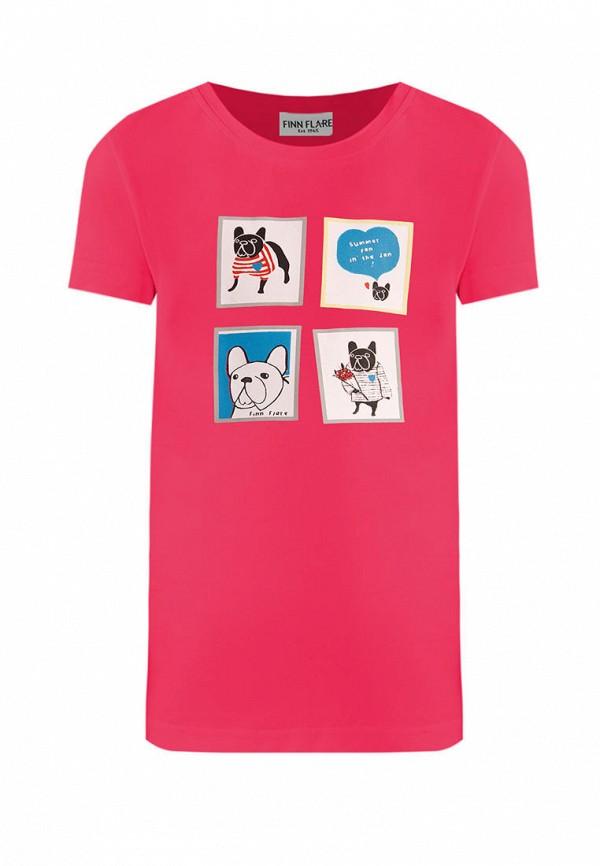 футболка с коротким рукавом finn flare для девочки, розовая