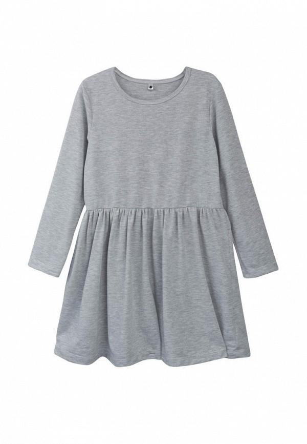 повседневные платье фламинго текстиль для девочки, серое